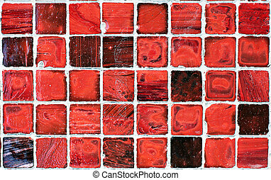 pattern of red tiles - grunge close pattern of small red...