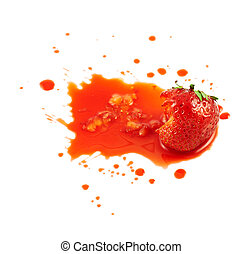 Smashed strawberry isolated - Smashed strawberry in the...