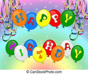 Felice, compleanno, palloni, invito