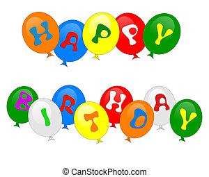 Felice, compleanno, palloni, isolato, invito
