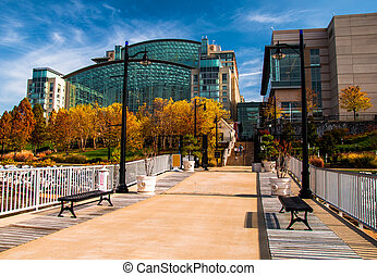 The Gaylord National Resort, seen from a pier in the Potomac...