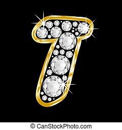 Gold framed alphabet letter t