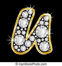 Gold framed alphabet letter u