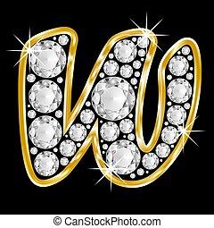 Gold framed alphabet letter w