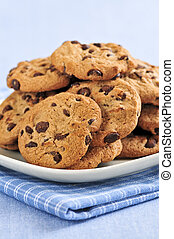 Chocolate chip cookies - Plate with big pile of chocolate...