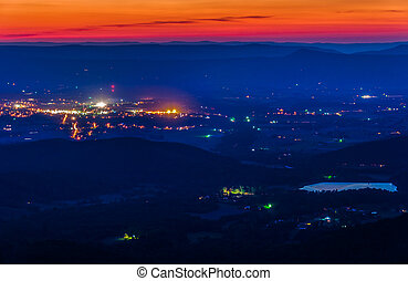 View of Lake Arrowhead and Luray after sunset from Skyline...