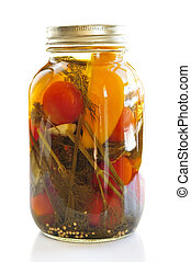 Jar of pickled vegetables - Clear glass jar of colorful...