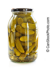Jars of pickles - Clear glass jar of green pickled cucumbers