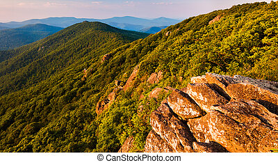 View of the Blue Ridge Mountains from the Pinnacle, along...
