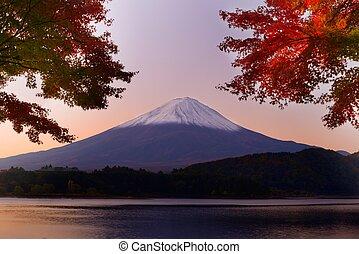 Mt. Fuji in the Autumn - Mt. Fuji and autumn foliage at Lake...