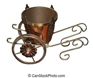 Roman Chariot Plant Pot Holder isolated with clipping path...