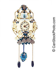 Antique Clock with Cherubs isolated with clipping path...