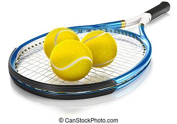 Tennis Racket with Tennis Balls - High detailed 3D tennis...