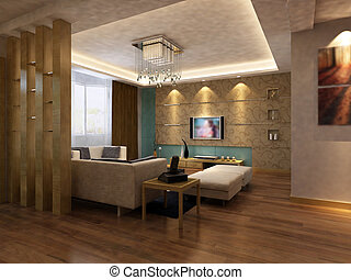 home interior 3d rendering - 3d rendering of home interior.