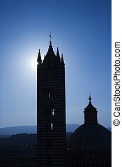 Silhouette of Italian Cathedral - Silhouette of Cathedral of...