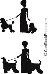 diva in silhouette with her dogs - lady and her dogs