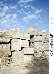 Travertine stone blocks - Travertine stone excavated from...