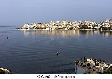 zatoka, Vlorë, Albo, Vlora, adriatycki, morze, Albania