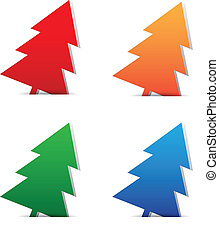 Christmas trees blank tags on white red,gree,orange,blue