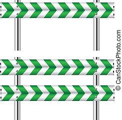 Green and white construction barricade on white