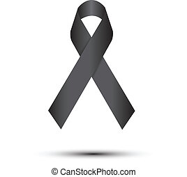 Black ribbon on white (Melanoma awareness symbol)