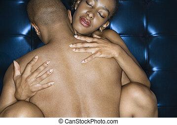 excitado, pelado, par, abraçar
