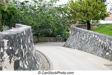 Twisty steep down hill road - Entrance to a park in Okinawa