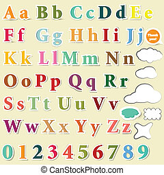 Collection of English letters color - Vector set of colorful...
