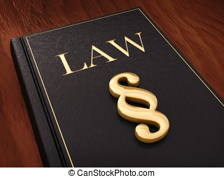 Judiciary - Golden paragraph sign and a law book