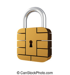 Contact pad padlock - Credit card security chip as padlock ,...
