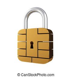 Contact pad padlock - Credit card security chip as padlock ,...
