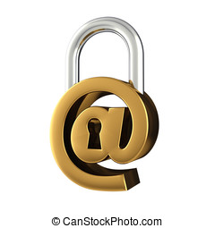 Internet security - Arobase sign as padlock , isolated on...