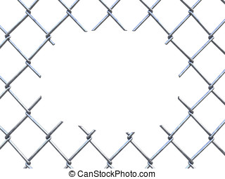 Cut chain link fence - Illegal immigration concept , 3d...