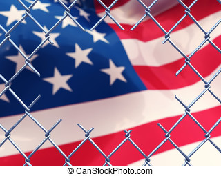 Cut fence and american flag - Illegal immigration concept ,...