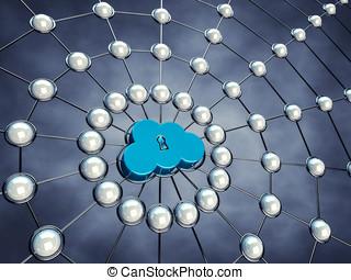 Cloud network - Secure cloud network , 3d illustration