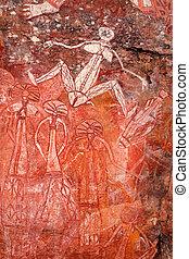 Aboriginal rock art at Nourlangie, Kakadu National Park,...
