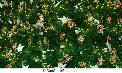 Christmas-tree decorations on star-shaped background
