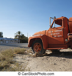 Old fire truck. - Old fire truck abandoned in desolate town.