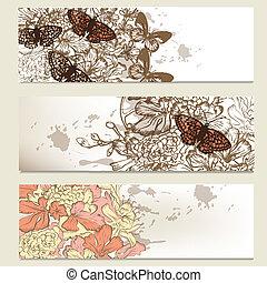 Set of vintage business banners wit - Set of vintage floral...
