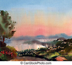 Watercolor painting landscape of sunset in the Cote dAzur,...