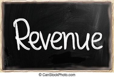 """""""Revenue"""" handwritten with white chalk on a blackboard"""