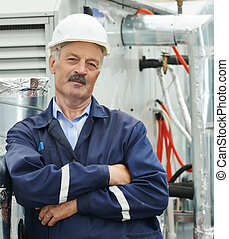Senior adult electrician engineer worker - Portrait of...