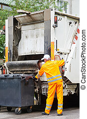 Recycling waste and garbage - Worker of municipal recycling...