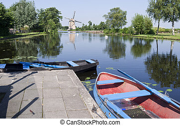 Typical Dutch vista. - Typical Dutch vista with boats for...