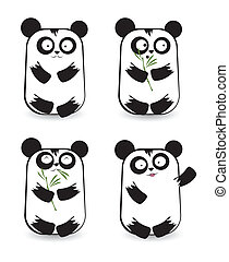 Vector set of cute panda bears with different emotions