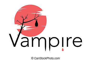 Vector vampire sign with bloody moon, bat, drops of blood,...