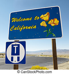 Welcome to California sign - Welcome to California sign with...
