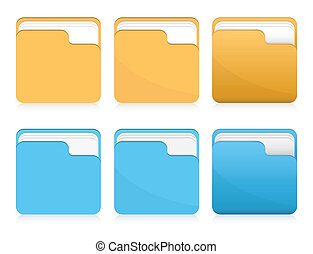 Vector set of folder icons - Vector set of orange and blue...