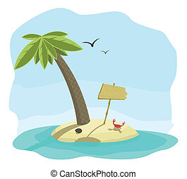 Vector illustration of tropical island with signboard -...