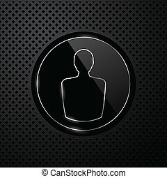 Vector user icon on black technology background